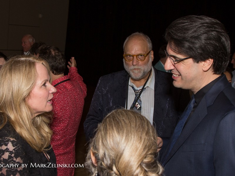 The VIP reception: L to R: Gillian Wood of Willson International, festival host Rob Salem, and writer-director Brian DeCubellis.