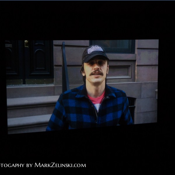 James Franco to the audience via video,